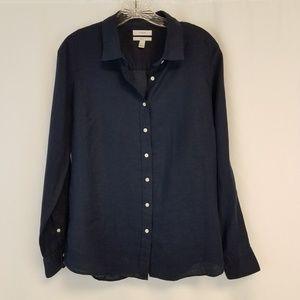 J crew 100% linen blue button up shirt  j25